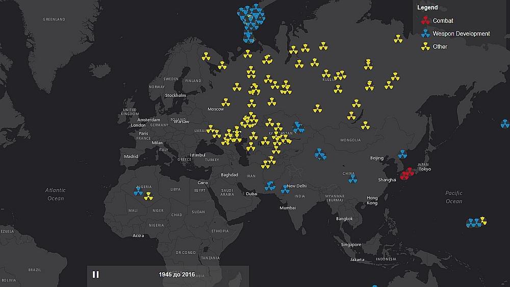 карта всех ядерных взрывов