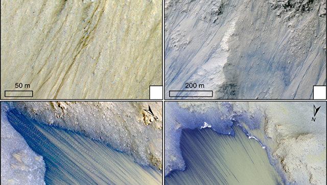 снимок горных ручьев на Марсе