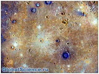 Голубые сооружения обнаружены в одном из кратеров Меркурия